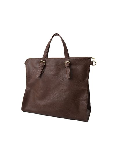 Buckle Straps Faux Leather Tote Bag - BROWN  Mobile