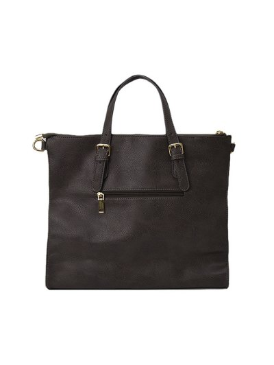 Buckle Straps Faux Leather Tote Bag - GRAY  Mobile