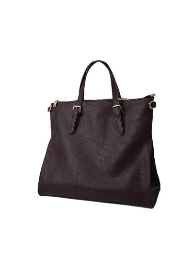 Buckle Straps Faux Leather Tote Bag - DEEP BROWN  Mobile