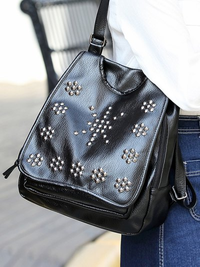 Flapped Rivet Backpack - BLACK  Mobile