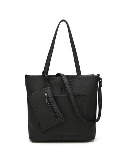 Faux Leather 3PCS Tote Bag Set - BLACK  Mobile