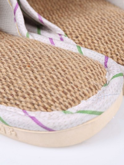 Insect Striped Jute Panel House Slippers - GREEN SIZE(38-39) Mobile