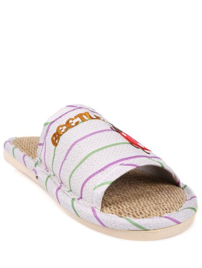 Insect Striped Jute Panel House Slippers - GREEN SIZE(40-41) Mobile