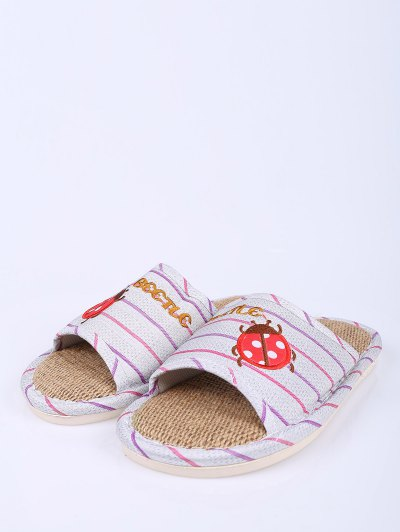 Insect Striped Jute Panel House Slippers - PURPLE SIZE(38-39) Mobile