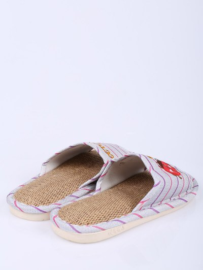 Insect Striped Jute Panel House Slippers - PURPLE SIZE(40-41) Mobile