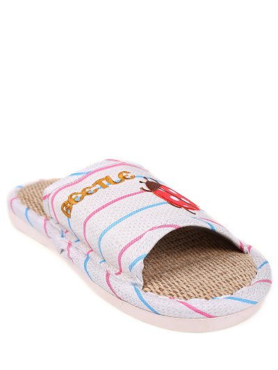 Insect Striped Jute Panel House Slippers - BLUE SIZE(38-39) Mobile