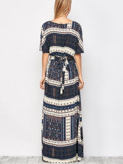 Printed Tie Back Slit Maxi Blouson Dress - PURPLISH BLUE L Mobile