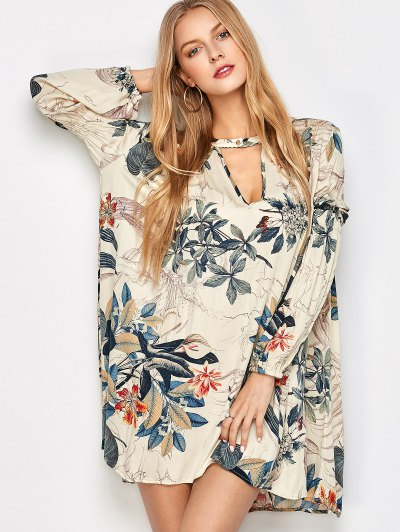 Plant Print Choker Long Sleeve Tunic Dress - MULTICOLOR L Mobile