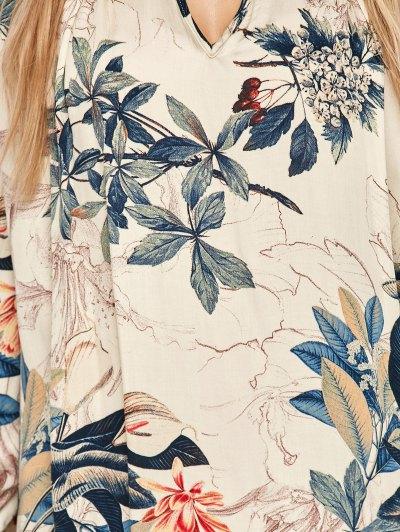 Plant Print Choker Long Sleeve Tunic Dress - MULTICOLOR M Mobile