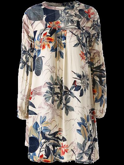 Plant Print Choker Long Sleeve Tunic Dress - MULTICOLOR S Mobile