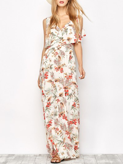 Side Slit Maxi Floral Dress - FLORAL L Mobile