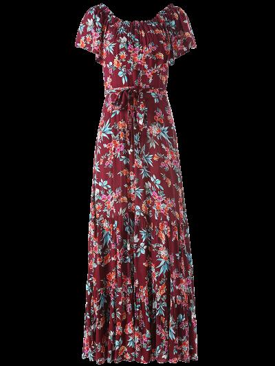 Ruffles Maxi Off The Shoulder Dress - FLORAL L Mobile