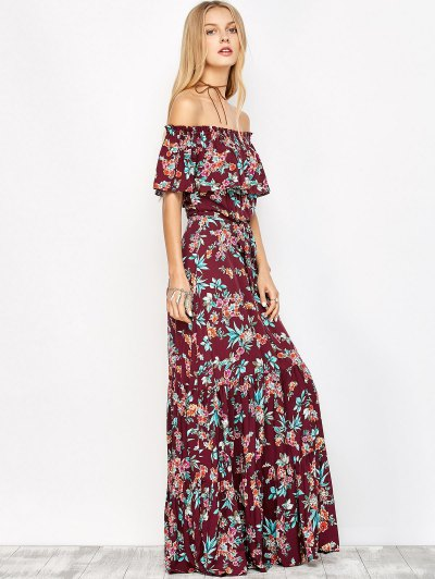 Ruffles Maxi Off The Shoulder Dress - FLORAL M Mobile