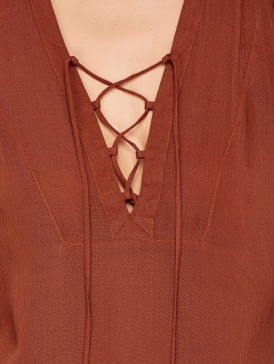 Long Sleeved Lace Up Top - DARK AUBURN L Mobile