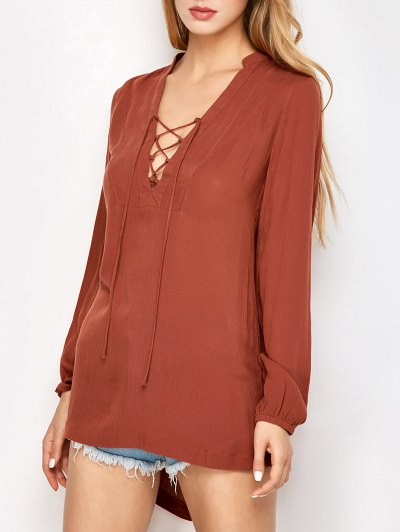 Long Sleeved Lace Up Top - DARK AUBURN M Mobile