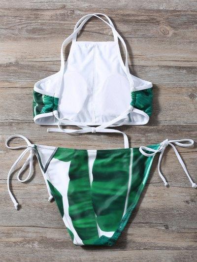 High Neck Palm Leaf Print Bikini - GREEN L Mobile
