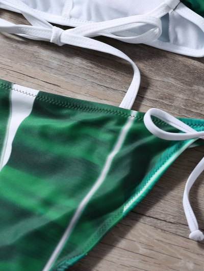 High Neck Palm Leaf Print Bikini - GREEN S Mobile