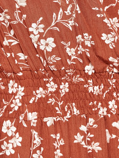 Tiny Floral Maxi Bandeau Dress - ORANGE RED L Mobile