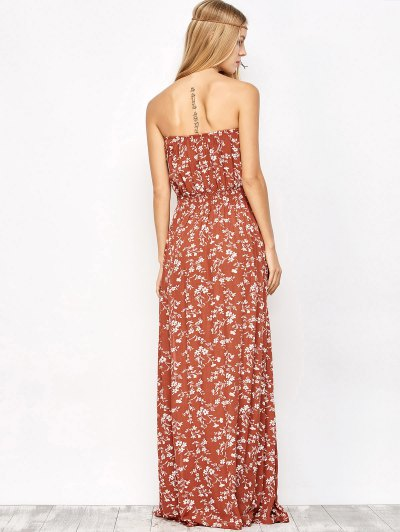 Tiny Floral Maxi Bandeau Dress - ORANGE RED M Mobile