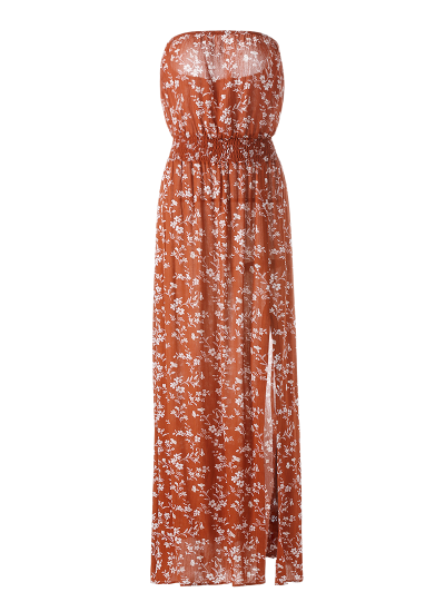 Tiny Floral Maxi Bandeau Dress - ORANGE RED S Mobile