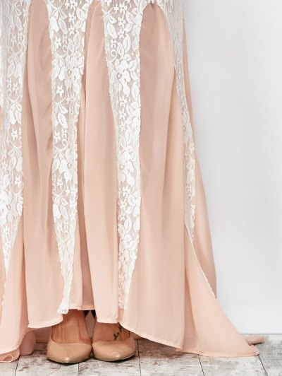 Chiffon Lace Maxi Prom Dress - PINK AND WHITE M Mobile