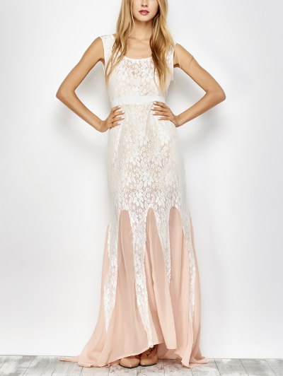 Chiffon Lace Maxi Prom Dress - PINK AND WHITE XL Mobile