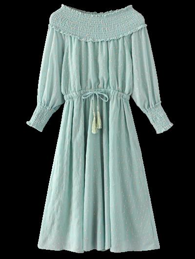 Off Shoulder Smocked Drawstring Embroidered Dress - LIGHT GREEN L Mobile