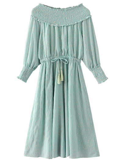 Off Shoulder Smocked Drawstring Embroidered Dress - LIGHT GREEN M Mobile