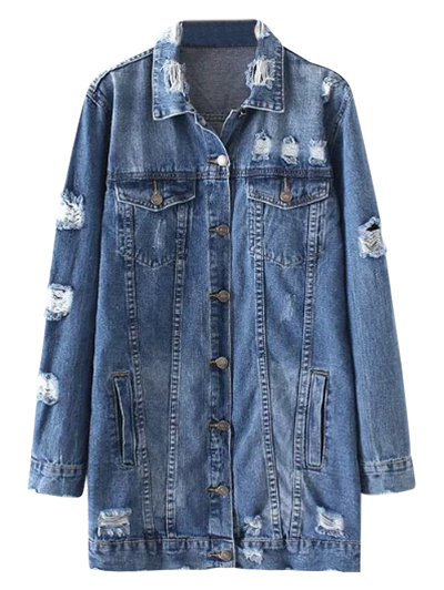 Bleach Wash Distressed Denim Coat - Denim Blue