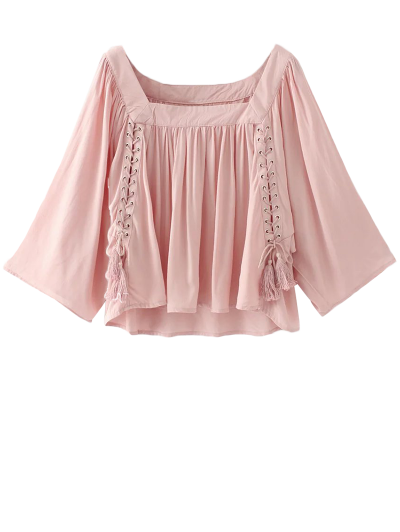 Wide Sleeve Flowy Trapeze Blouse - Pink