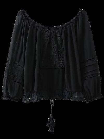 Off The Shoulder Embroidered Fringed Blouse - Black