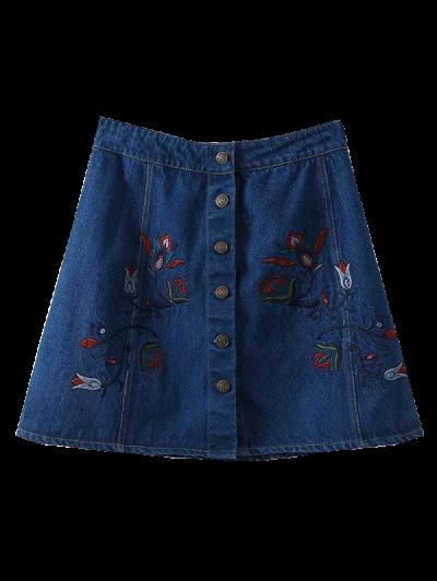 Dril De Algodón Bordado Floral Una Línea De Falda - Azul S