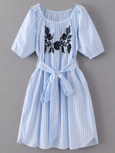 Striped Floral Embroidered Dress - Light Blue