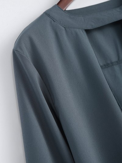 Chiffon Crossover Choker Blouse - GRAY XL Mobile