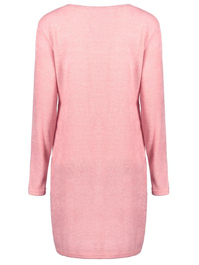 Side Zipper Sweater Dress - PINK L Mobile