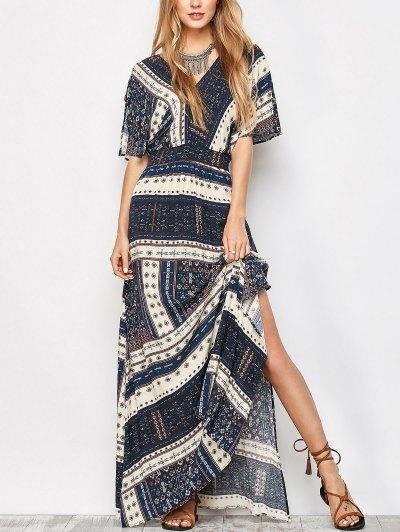 Printed Tie Back Slit Maxi Blouson Dress - Purplish Blue