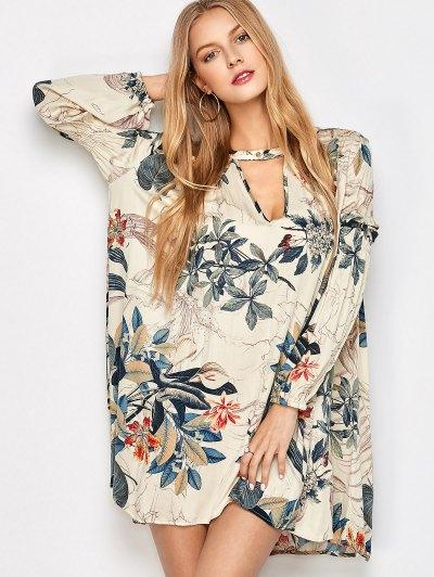 Robe Tunique Imprimée Plantes Avec Manches Longues Et Encolure Choker - Multicouleur S
