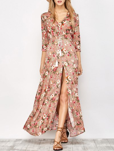 Front Button Maxi Floral V Neck Dress - Floral M