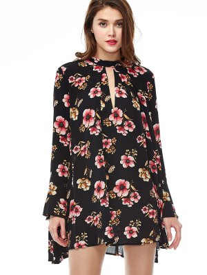 Keyhole Cutout Floral Print Swing Dress - Black