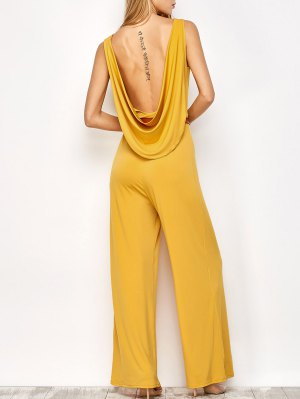 Belted Backless Jumpsuit - Yellow