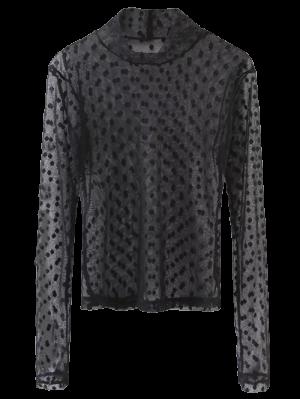 Sheer Mock Neck Dots Embellished Mesh Blouse - Black