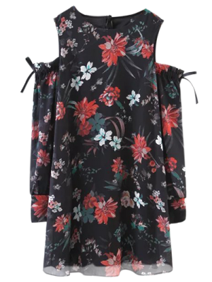 Long Sleeve Cold Shoulder Floral Dress - Black
