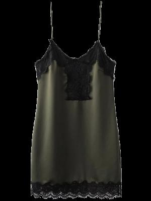 Lace Panel Cami Mini Dress - Green