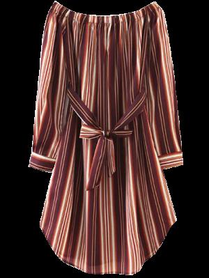 Striped Bowknot A-Line Dress - Brown
