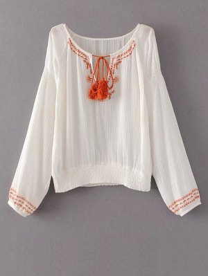 String Fringed Embroidered Blouse - White