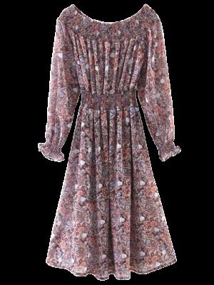 Paisley Off Shoulder Shirred Dress