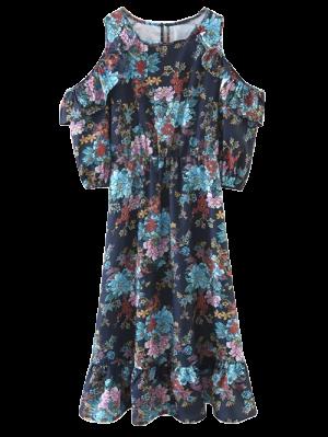 Floral Cold Shoulder Midi Dress - Floral