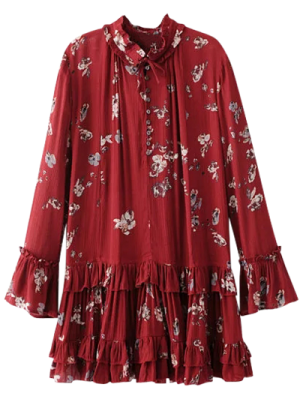 Floral Pleated Tunic Dress - Burgundy
