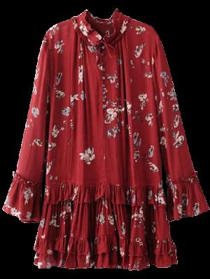 Floral Vestido De La Túnica Plisada - Burdeos