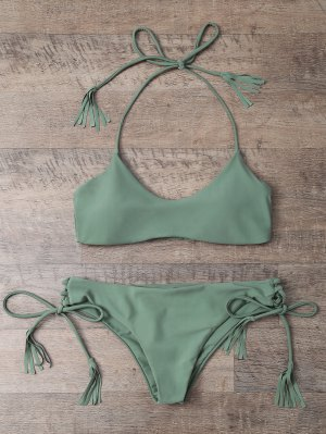 Tasselled Halter Bikini Set - Army Green